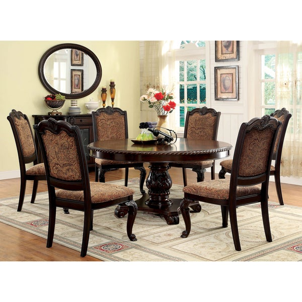 Furniture of America Oskarre III Brown Cherry 7-Piece Formal Round ...