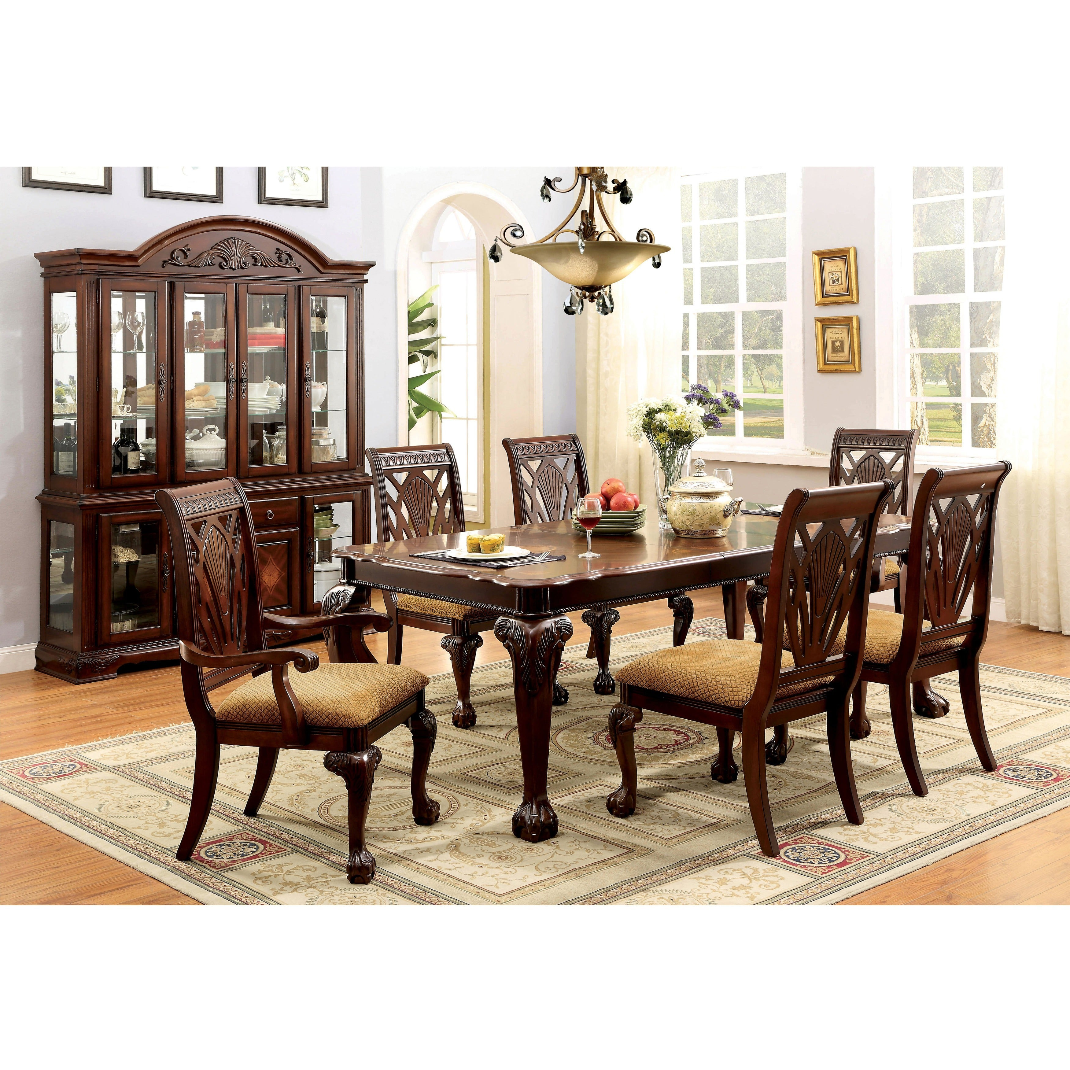 Traditional Cherry Casual Carved Design Dining Room Round: Shop Furniture Of America Ranfort Formal 7-Piece Cherry