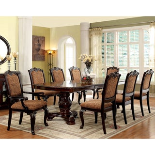 Furniture of America Oskarre III Brown Cherry 9-Piece Formal Dining Set