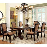 Furniture of America Oskarre III Brown Cherry 7-Piece Formal Dining Set