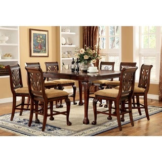 Furniture of America Ranfort 9-Piece Cherry Counter Height Dining Set