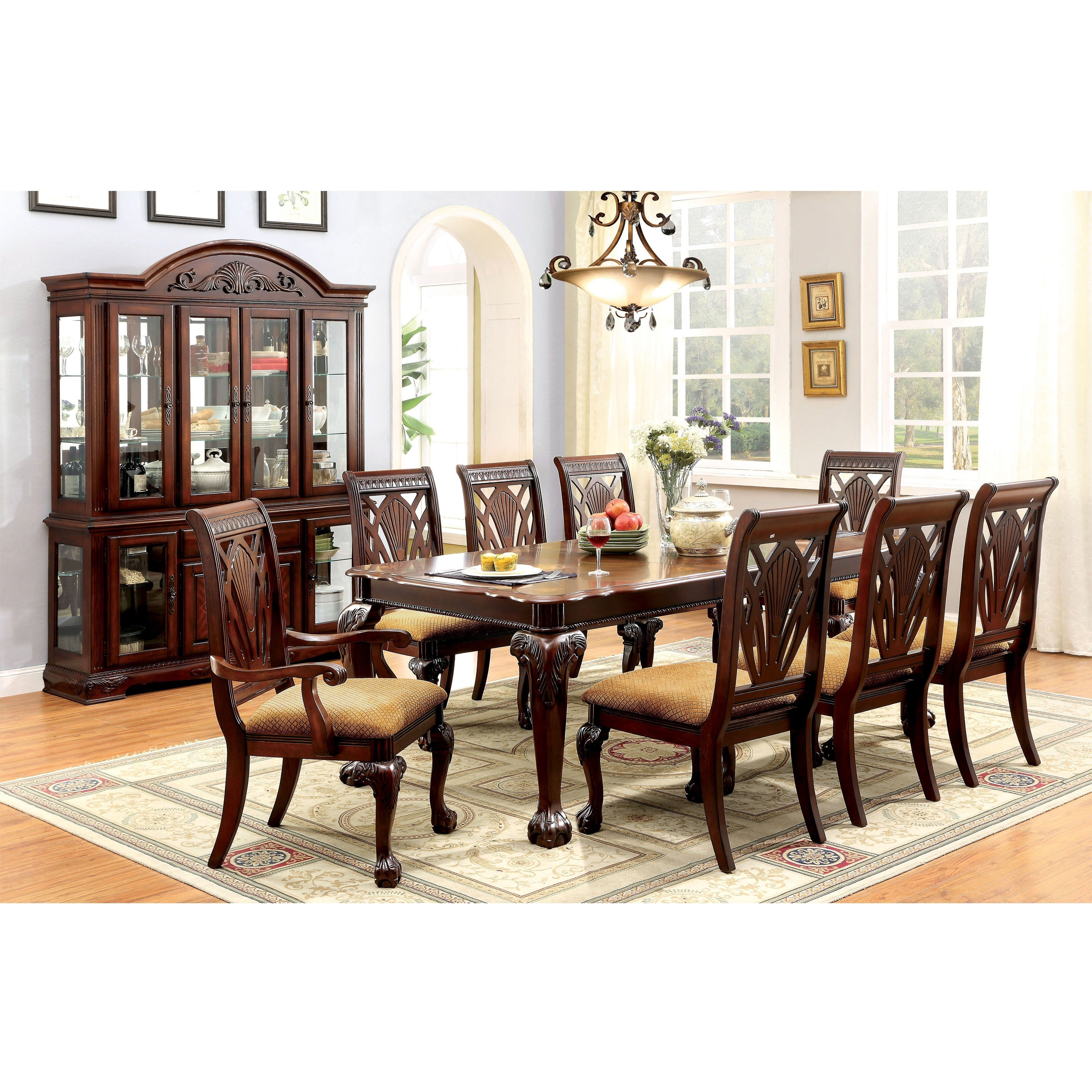 Furniture Of America Ranfort Formal 9 Piece Cherry Dining Set