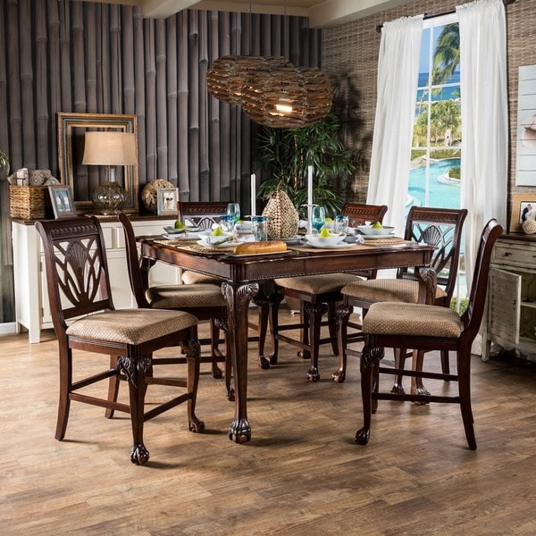furniture of america ranfort 7 piece cherry counter height dining set