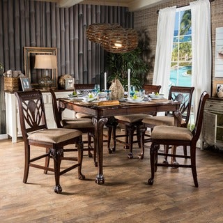 Furniture of America Ranfort 7-Piece Cherry Counter Height Dining Set - Thumbnail 0