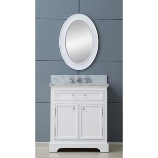 Water Creation Derby 30-inch Solid White Single Sink Bathroom Vanity