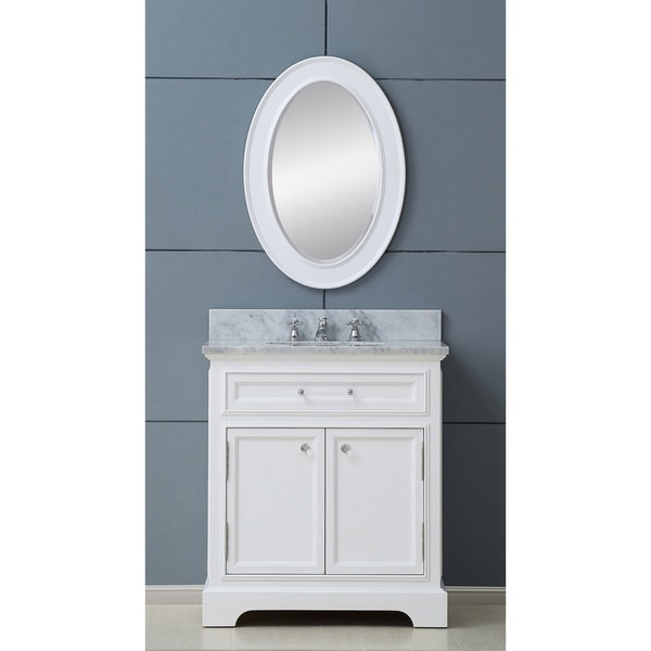 Shop water creation derby 30 inch solid white single sink - 30 inch white bathroom vanity with sink ...