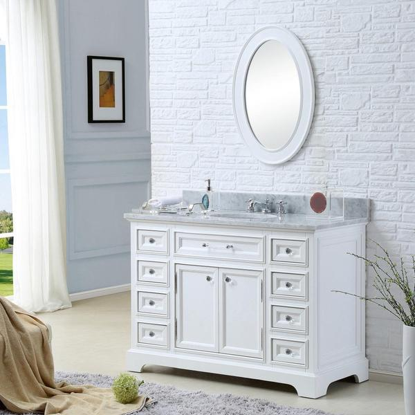 water creation derby 48-inch solid white single sink bathroom