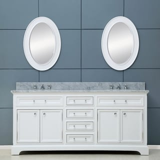 Water Creation Derby 72-inch Solid White Double Sink Bathroom Vanity