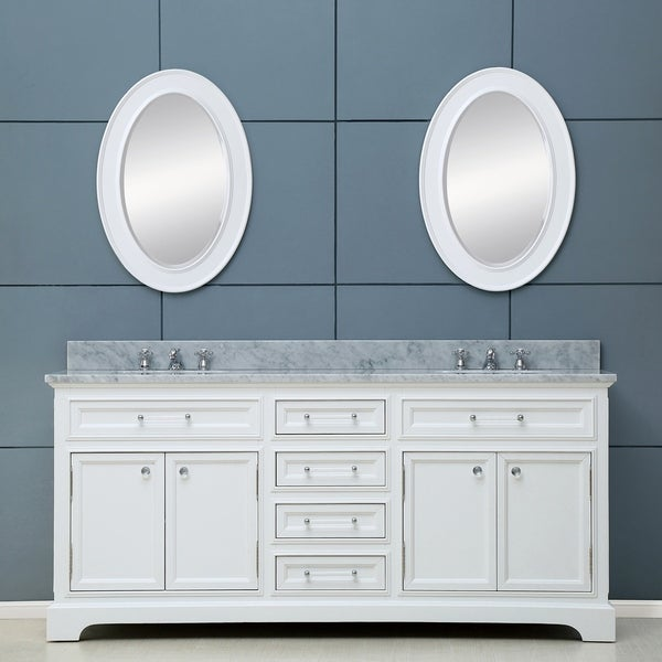 Water Creation Derby 72-inch Solid White Double Sink Bathroom Vanity. Opens flyout.