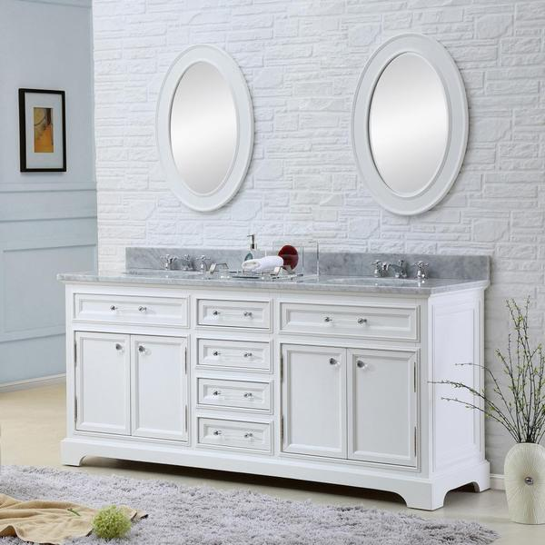white double sink bathroom vanity. Water Creation Derby 72 inch Solid White Double Sink Bathroom Vanity  Free Shipping Today Overstock com 16992500