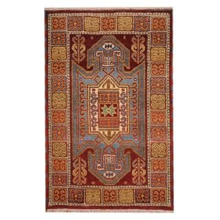Herat Oriental Indo Hand-knotted Tribal Kazak Burgundy/ Ivory Wool Rug (3' x 5')