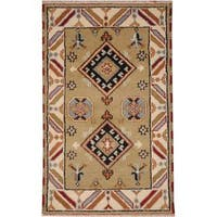 Handmade Herat Oriental Indo Tribal Kazak Wool Rug (India) - 3' x 5'