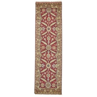 "Grand Bazaar Hand-knotted 100-percent Wool Pile Pietra Rug in Red/Gold 2'-6"" x 8'"