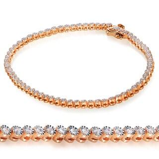 Annello Rose Goldplated Silver 1/2ct TDW Diamond Bracelet (H-I, I1-I2)