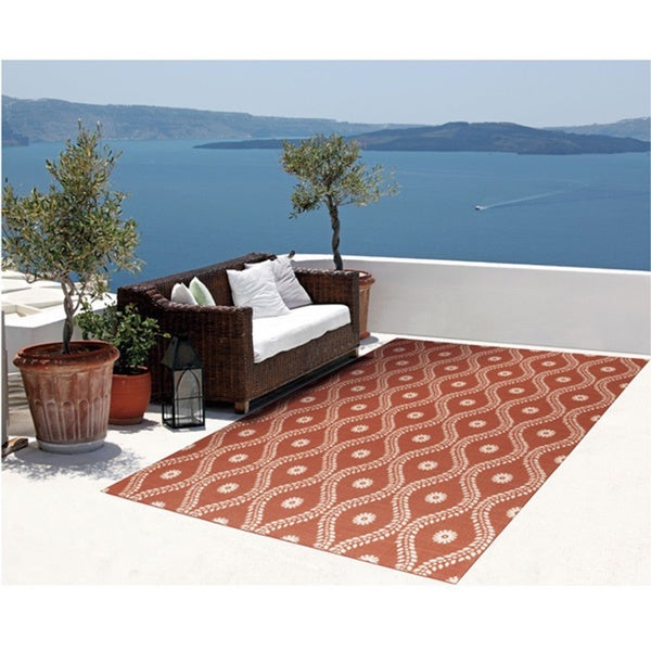 "Rug Squared Palmetto Rust Indoor/ Outdoor Area Rug - 7'9"" x 10'10"""