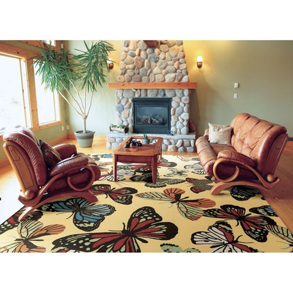 Rug Squared Palmetto Yellow Indoor/ Outdoor Area Rug (10' x 13') - 10' x 13'