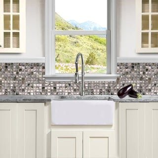 Highpoint Collection White 24-inch Single Bowl Rectangle Italian Fireclay Farmhouse Kitchen Sink
