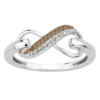 Sterling Silver Brown and White Diamond Accent Infinity Ring