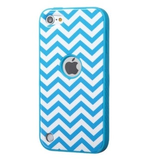 Insten Blue/ White Wave Verge Hard PC/ Silicone Dual Layer Hybrid Rubberized Matte Phone Case Cover For Apple iPod Touch 5th Gen