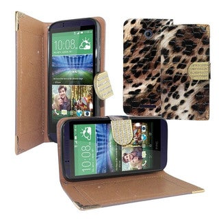Insten Leopard Leather Phone Case Cover with Diamond For HTC Desire 510