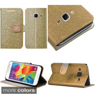 Insten Leather Glitter Phone Case Cover with Stand/ Wallet Flap Pouch/ Diamond For Samsung Galaxy Core Prime