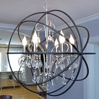 Maxim Nickel Orbit Single Tier Metal 6-light Chandelier