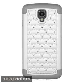 Insten Pink/ Gray Plain Hard PC/ Silicone Dual Layer Hybrid Rubberized Matte Phone Case Cover with Diamond For LG Volt LS740