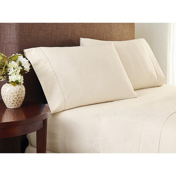 Crowning Touch Cotton Natural Jacquard Sheet Set