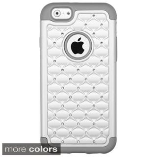 Insten Plain Hard PC/ Silicone Dual Layer Hybrid Rubberized Matte Phone Case Cover with Diamond For Apple iPhone 6