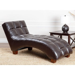 Abbyson Living Carter Dark Brown Leather Tufted Chaise