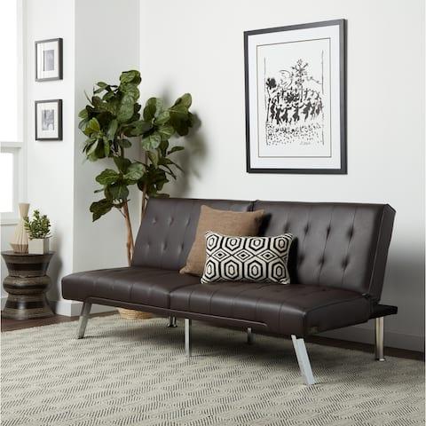 Abbyson Jackson Dark Brown Leather Foldable Futon Sofa Bed