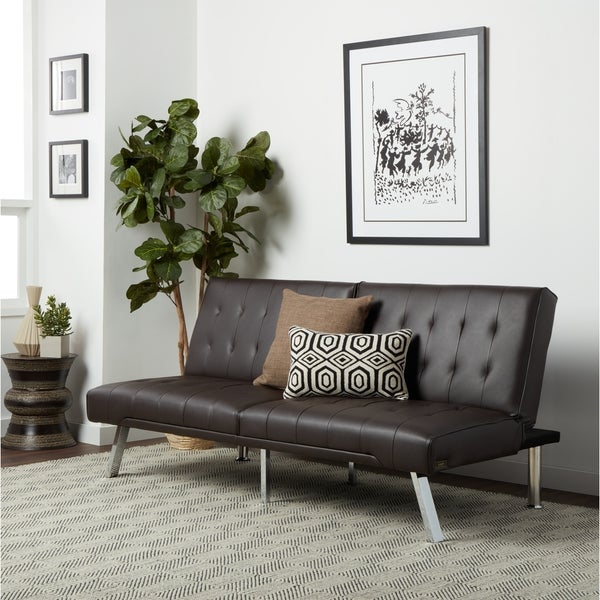 Abbyson Jackson Dark Brown Leather Foldable Futon Sofa Bed