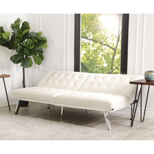 Pleasing Shop Abbyson Jackson Ivory Leather Foldable Futon Sofa Bed Ibusinesslaw Wood Chair Design Ideas Ibusinesslaworg