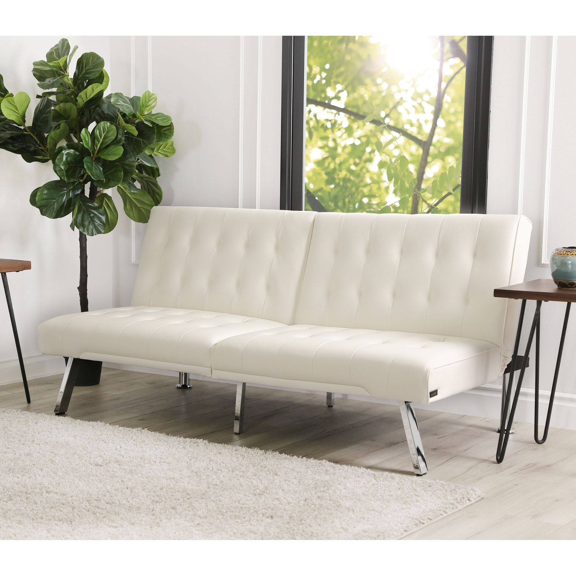 Ivory Leather Foldable Futon Sofa Bed