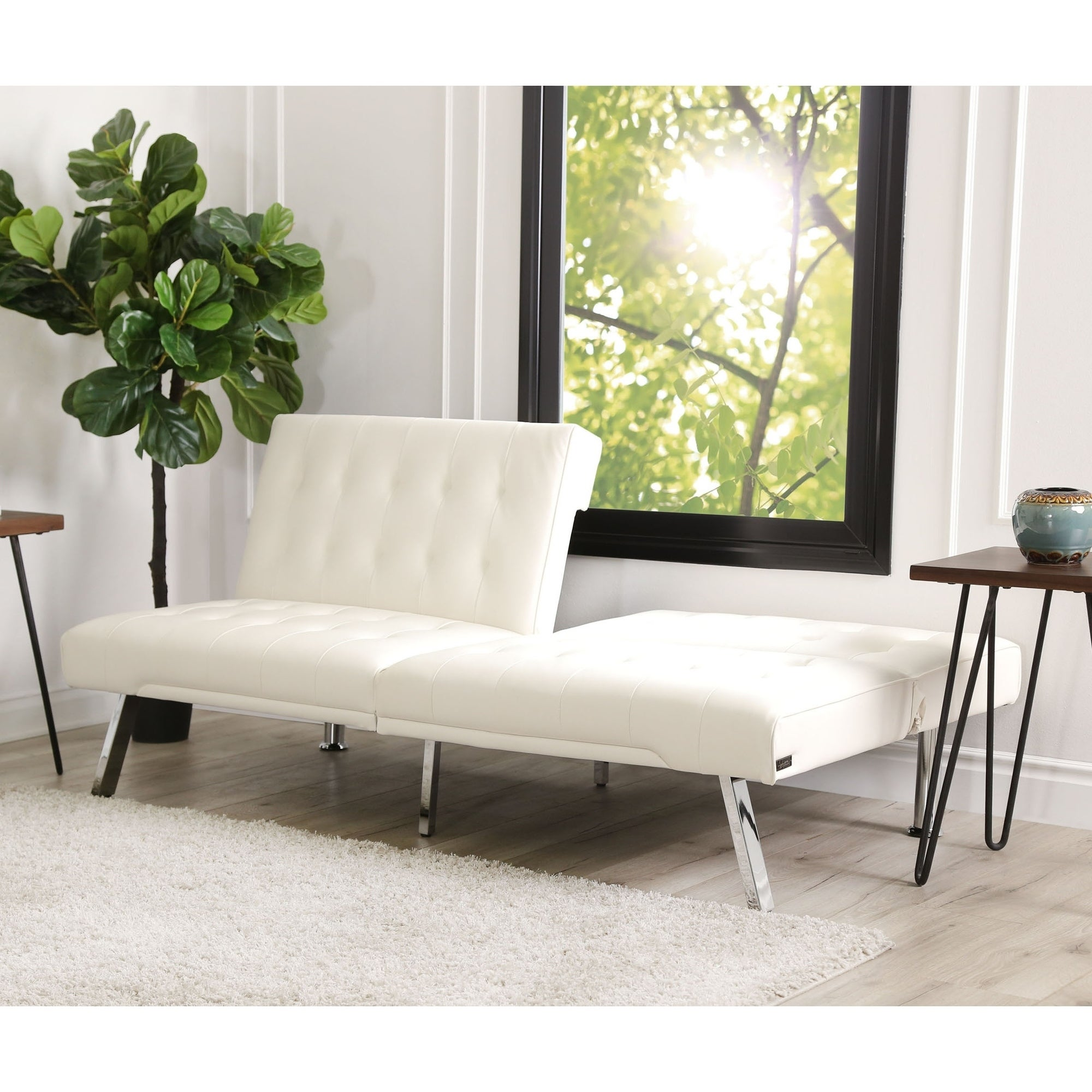 reputable site efd82 5241a Abbyson Jackson Ivory Leather Foldable Futon Sofa Bed