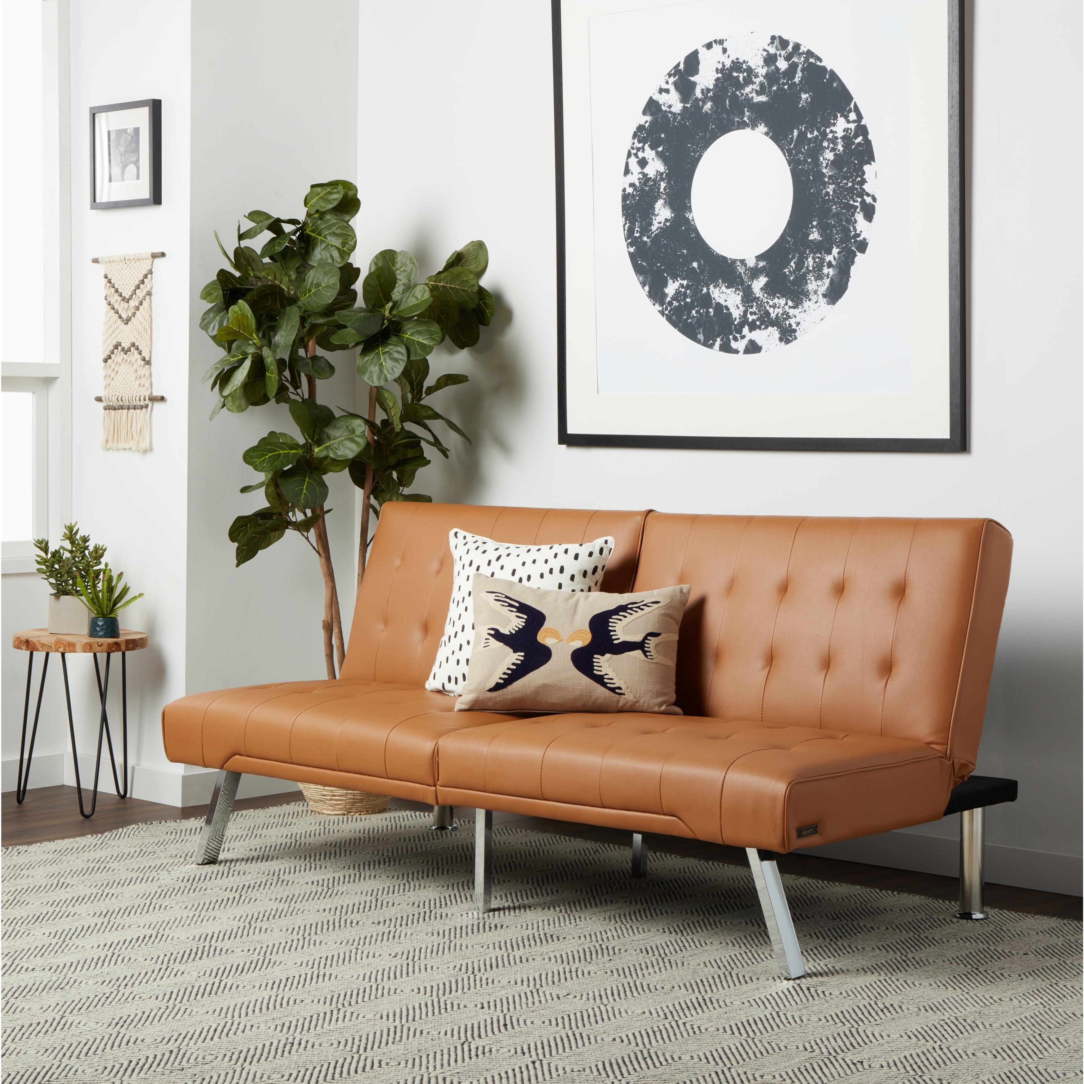 Camel Leather Foldable Futon Sofa Bed