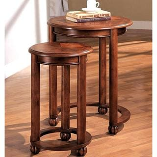 Tanuge Design Wooden 2-piece Round Nesting Table Set