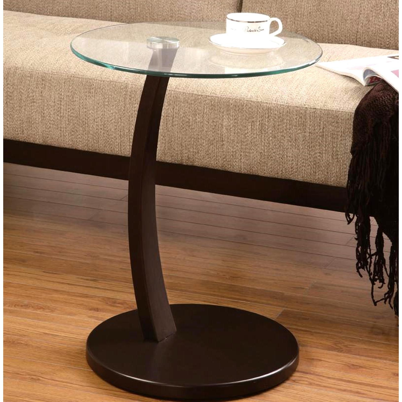 Cappuccino Round Wood Accent Table with Glass Top (Cappuc...