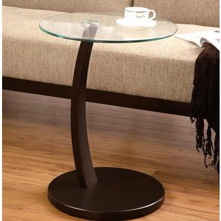 Cappuccino Round Wood Accent Table with Glass Top