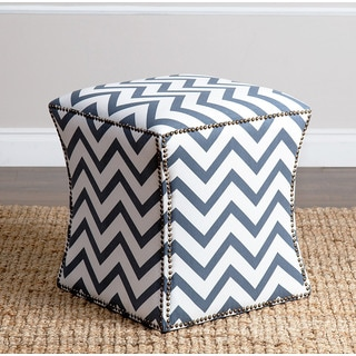 ABBYSON LIVING Kimberly Blue Chevron Nailhead Trim Ottoman