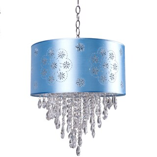 One-Light Pendant with Baby Blue Shade and Clear European Crystals