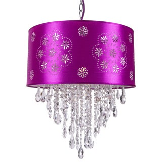 One-Light Pendant with a Purple Shade and Clear European Crystals