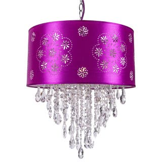 Purple ceiling lights for less overstock one light pendant with a purple shade and clear european crystals aloadofball Images