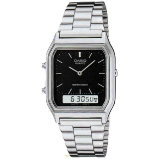 Casio Men's Core AQ230A-1D Black Stainless Steel Analog Quartz Watch
