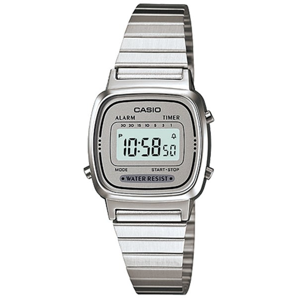 Casio Women's Illuminator LA670WA-7 Grey Stainless Steel Quartz Watch
