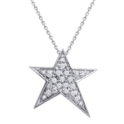10k Gold 1/5ct TDW Diamond Star Necklace