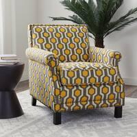 Abbyson Chloe Yellow Pattern Linen and Wood Club Chair