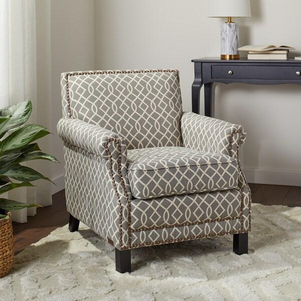 Shop Abbyson Chloe Grey Fabric Pattern Club Chair Free