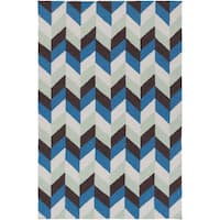 Hand-Woven Kristy Contemporary Wool Area Rug - 5' x 8'