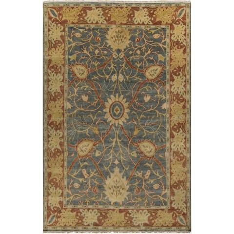 """Hand-Knotted Miriam Floral New Zealand Wool Area Rug - 3'6"""" x 5'6"""""""